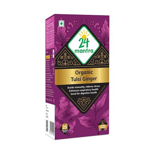 Tulsi Ginger Tea Bags  - 24 Mantra Organic - 25 bags