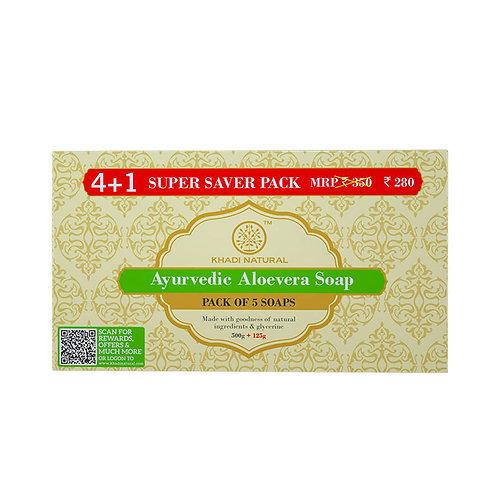 Aloevera Soap Super Saver Pack 4+1 - Khadi Natural - 625 gm