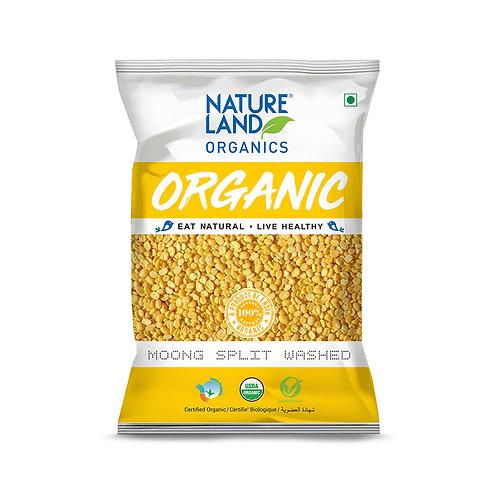 Moong Split Washed - Natureland Organics - 500 gm