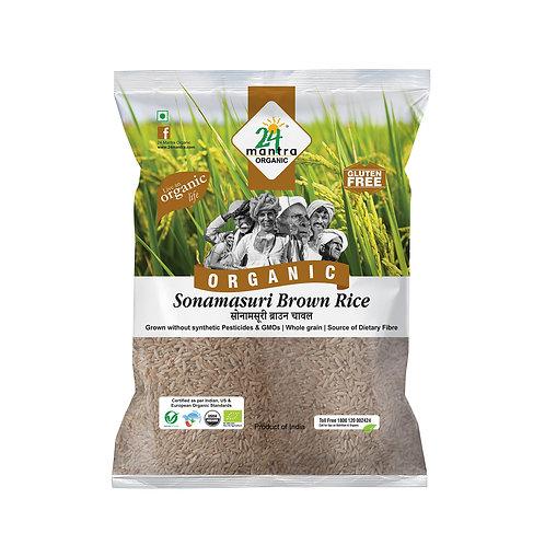 Sonamasuri Rice Brown Raw - 24 Mantra Organic - 1kg