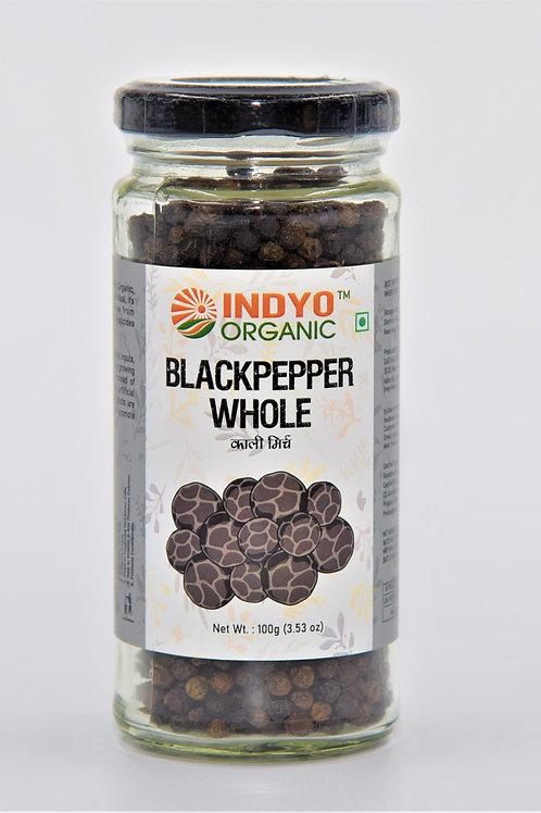Black Pepper (Kali Mirch) Whole - Indyo Organic - 100 gm