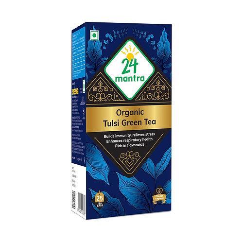 Tulsi Green Tea Bags - 24 Mantra Organic - 25 bags