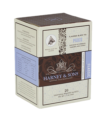 Paris tea Harney & Sons box of 20 individually wrapped full leaf pyramid sachets