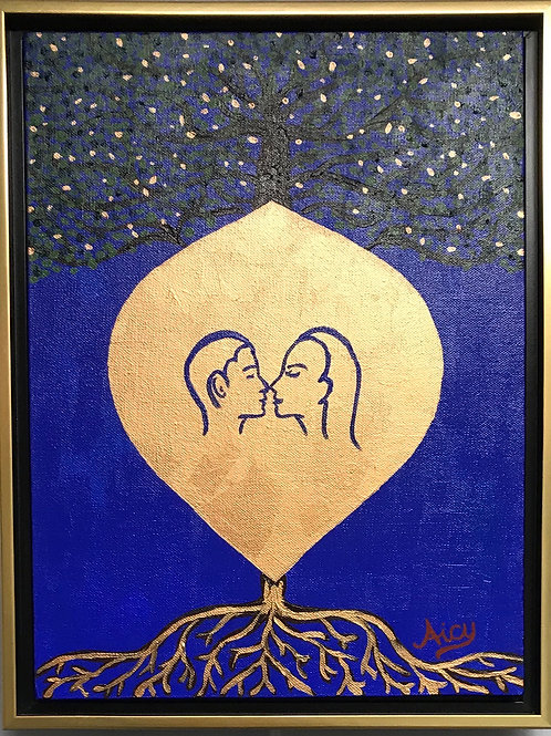 """Roots of Love"" Acrylics on Canvas Painting"