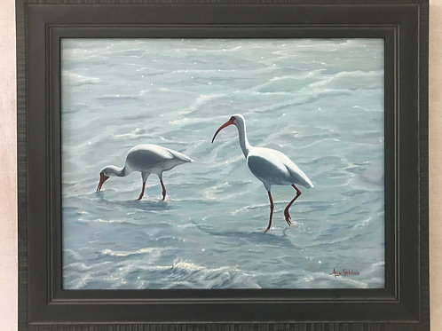 """""""Ibises at the Beach"""" Acrylics on Canvas Panel Painting"""