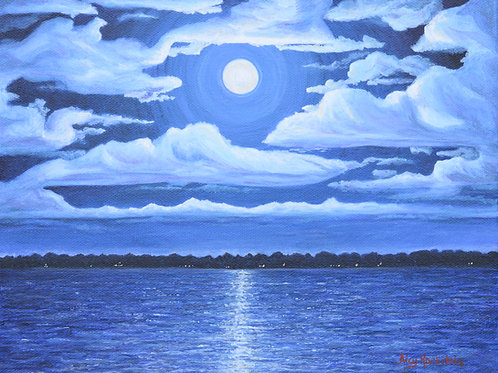 """""""Moonlit Dreams"""" Acrylics on Canvas Painting"""