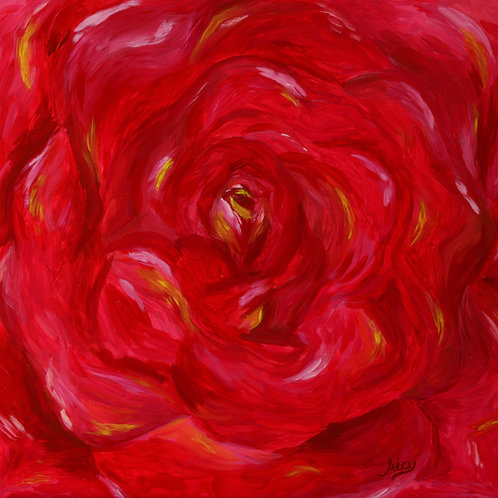"""Rose"" Acrylics on Canvas Painting"