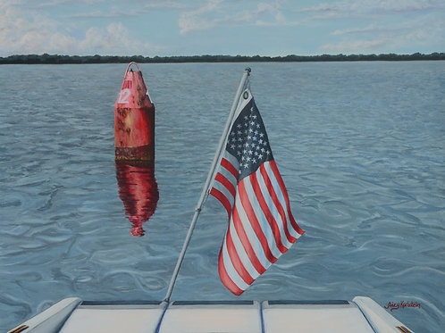 """""""Passing Channel Marker 12, Potomac River"""" Acrylics on Canvas Painting"""