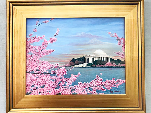 """Cherry Blossoms at Sunrise"" Acrylics on Canvas Painting"