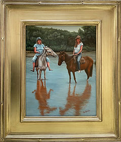Painting of two females on horseback, in Brazil, by Aicy Karbstein
