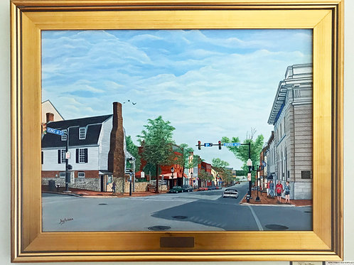 """King Street Old Town Alexandria"" Acrylics on Canvas Painting"