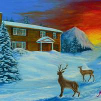 Winter Sunrise (with Deer)