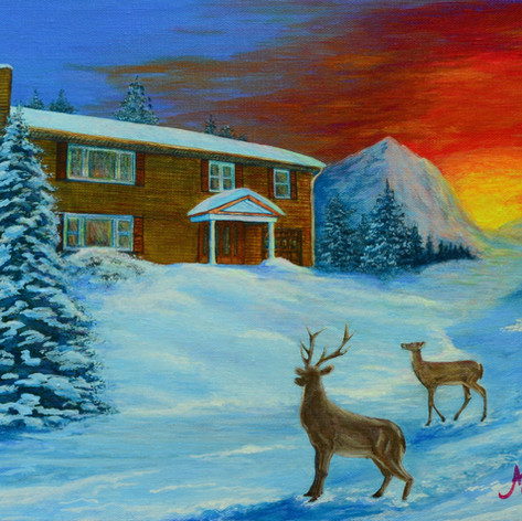 Winter Sunrise (with Deer)