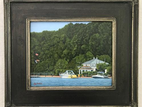 """Boats at Leonardtown Wharf"" Acrylics on Canvas Painting"
