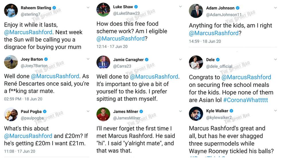 Football stars react to Marcus Rashford's school meal victory