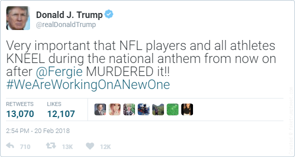 Trump urges athletes to kneel during national anthem after Fergie fiasco