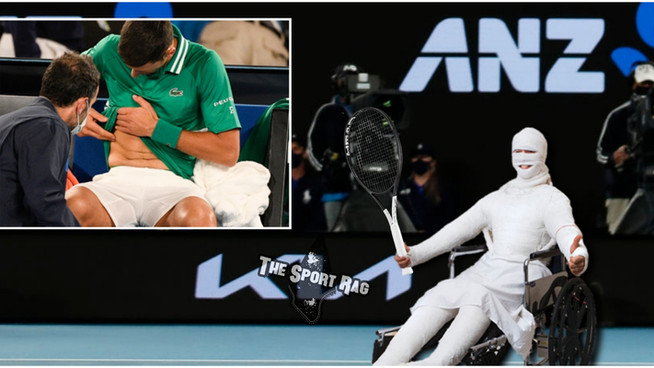 Injured Djokovic arrives on court in full body cast, wins in straight sets