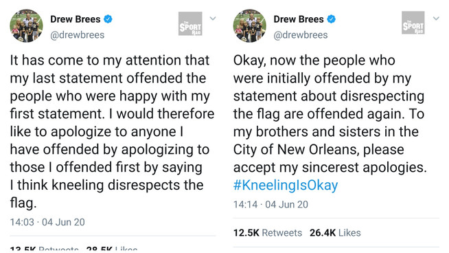 Drew Brees trapped in endless apology loop on Twitter