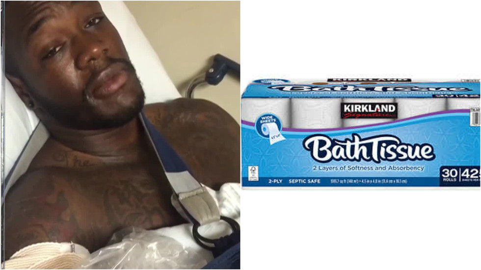 Deontay Wilder collapses again carrying pack of Kirkland toilet paper