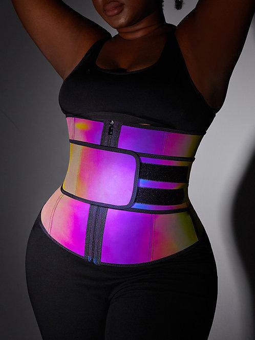 High Compression Rainbow Reflective Iridescent Double Velcro Strap Zipper Latex