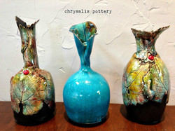 vases with leaves