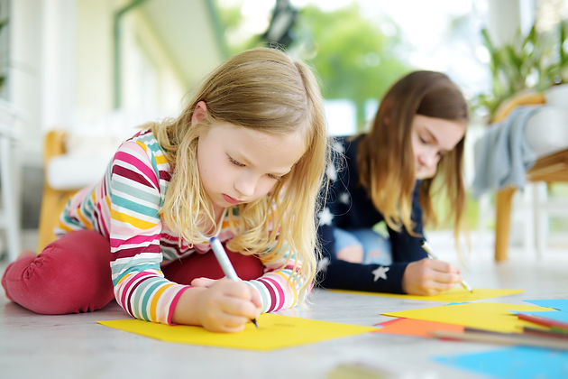 bigstock-Two-Sisters-Drawing-With-Color-