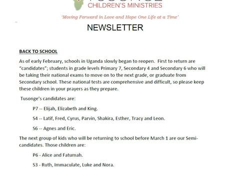 Newsletter:  February 2021
