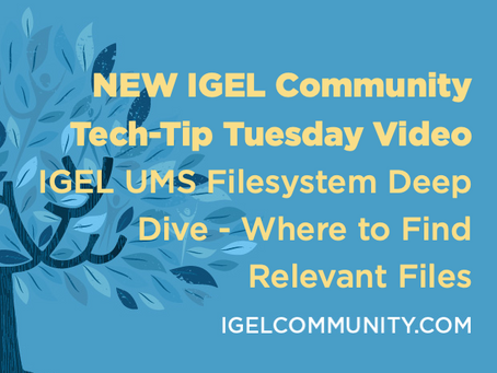 NEW Tech-Tip Tuesday Video - IGEL UMS Filesystem Deep Dive
