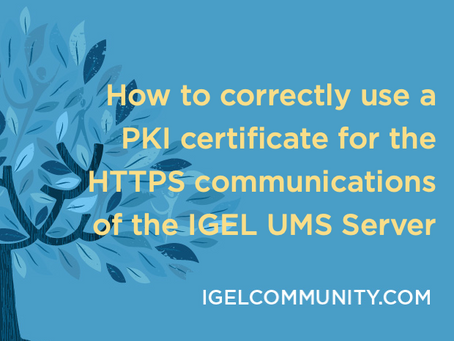 How to correctly use a PKI certificate for the HTTPS communications of the IGEL UMS Server