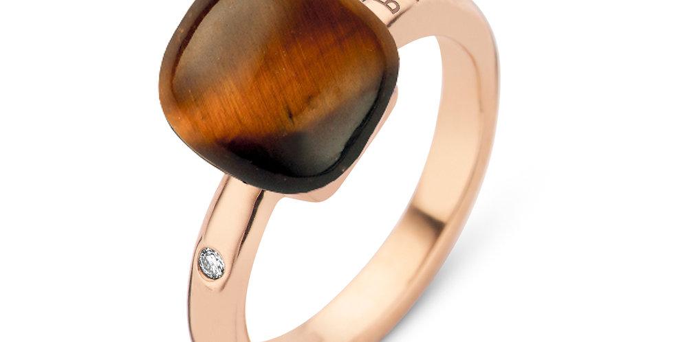Bigli Mini Sweety Ring met Tijgeroog en bergkristal