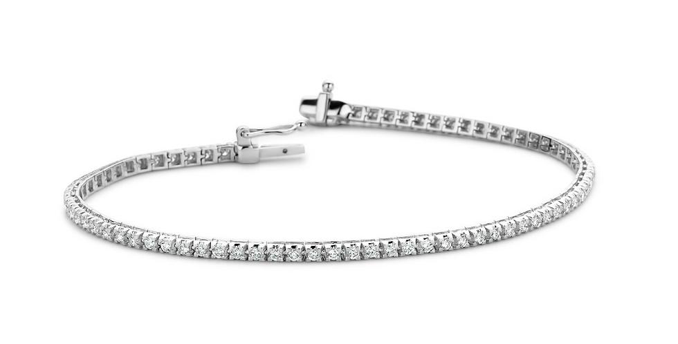 18 krt. Witgouden tennisarmband met 77 briljant geslepen diamanten | 3.00 ct