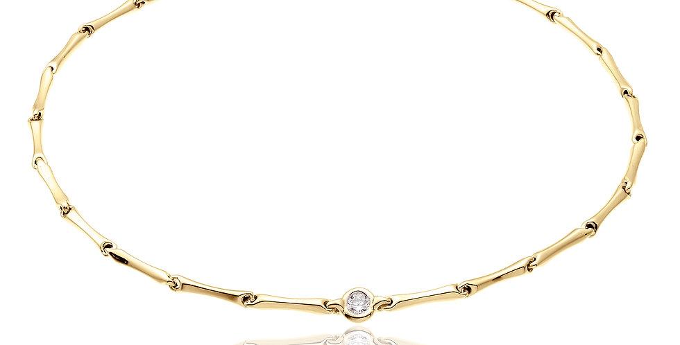 Chimento 18 krt. geelgouden bamboe armband met diamant | 1,97 gram