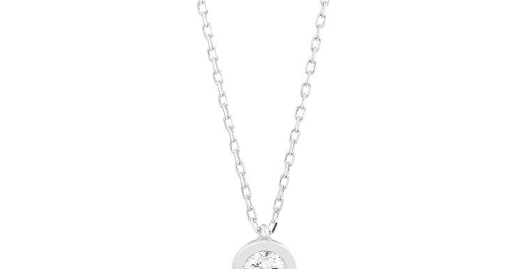 14 krt. Witgouden anker collier met diamant in ronde zet kast