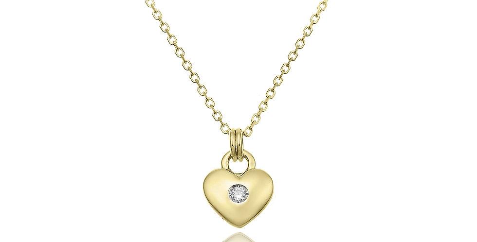 Chimento 18 krt. geelgouden collier met hanger in hartvorm en diamant