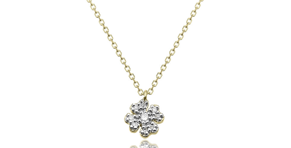 Chimento 18 krt. geelgouden collier met klaver hanger vol gezet met diamant