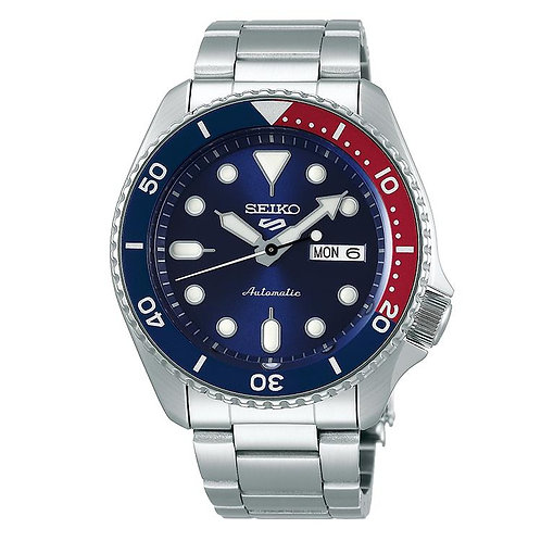 Seiko 5 Sports Automatic SS Blauw/Rood (SRPD53K1)
