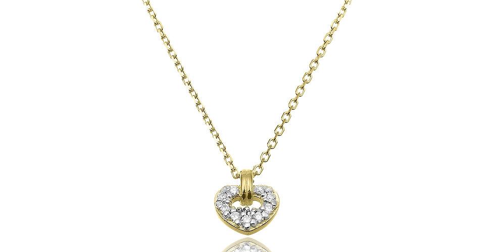 Chimento 18 krt. geelgouden collier met hanger in hartvorm vol gezet met diamant