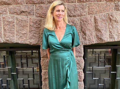 Oneseason Cupro Frill Dress Emerald