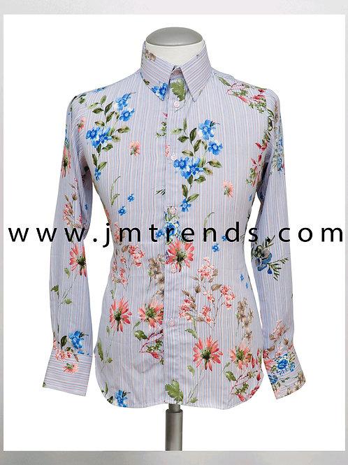 JMtrends Silk Floral Print Shirt