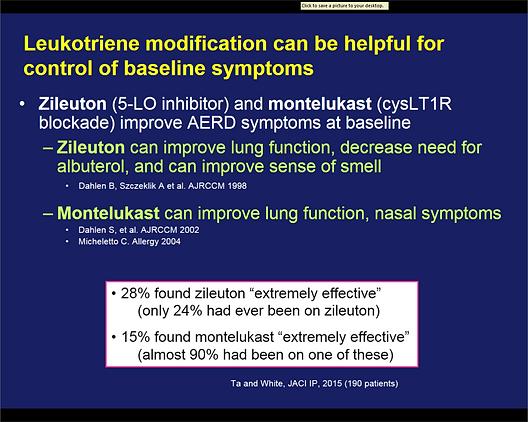 leukotriene modifying drugs for AERD Samter's