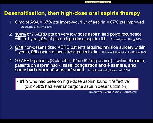 Aspiin Desensitization Statistics