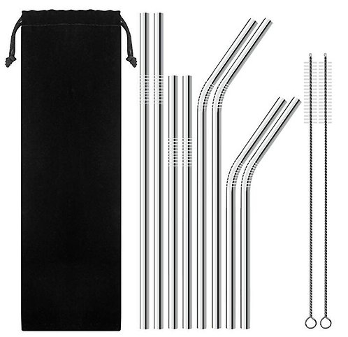 Set of 8 Stainless Steel Straws Set with Cleaner Brush & Pouch
