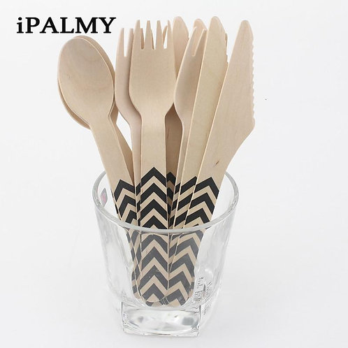 iPALMY 12pcs Disposable Birch Wood Biodegradable Cutlery Set