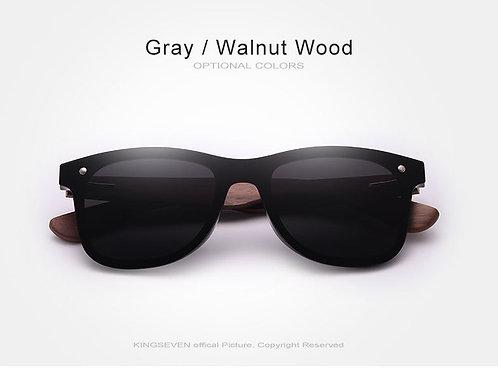Walnut Wood Rimless Polarized Sunglasses UV400