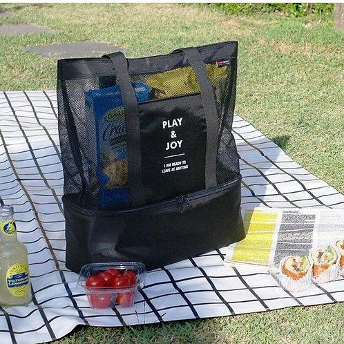 Portable Cooler Half Transparent Mesh Large Shoulder Bag