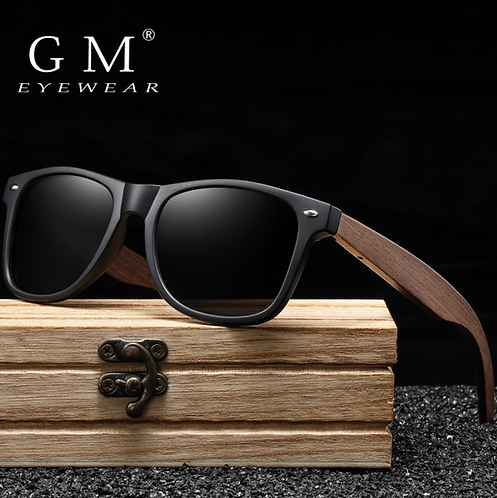 GM Retro Black Walnut Wood UV400 Polarized Bamboo Sunglasses