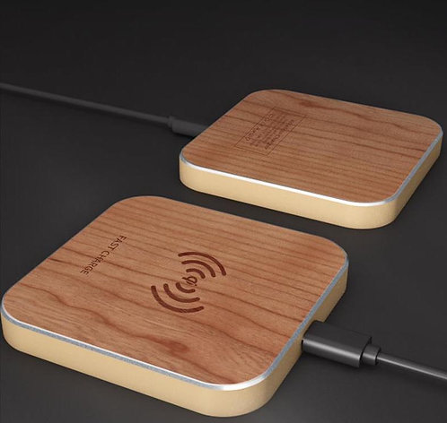 15W Cherry Wood Qi Wireless Charger