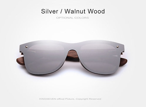 Walnut Wood Rimless Polarized Sunglasses UV400
