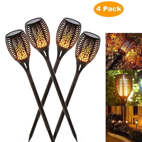 4pcs Solar Lawn Flickering Flame Outdoor Lights