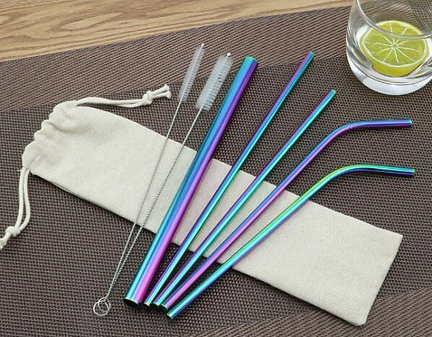 5pcs 304 Stainless Steel Drinking Straws Set + 2 Brushes & 1 Pouch Bag